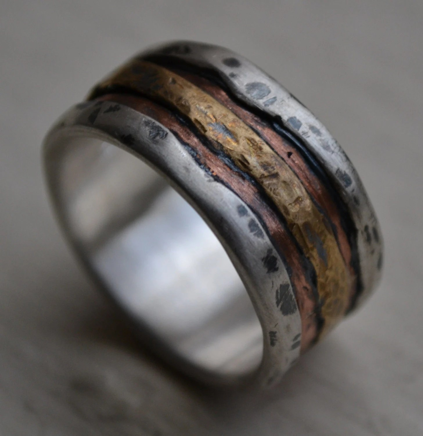 gay mens wedding rings Hey I found this really awesome Etsy listing at https www etsy com listing rustic men ring silver copper ring mens Wedding Pinterest