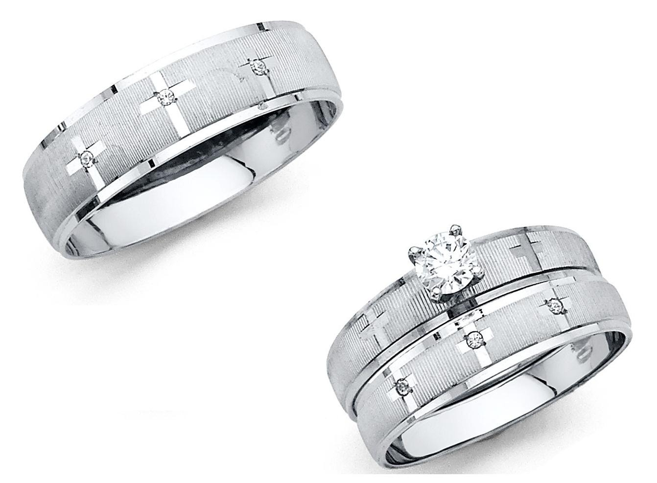 cross wedding bands 14k Solid White Gold Cross Wedding Band Bridal Solitaire Engagement Ring Set