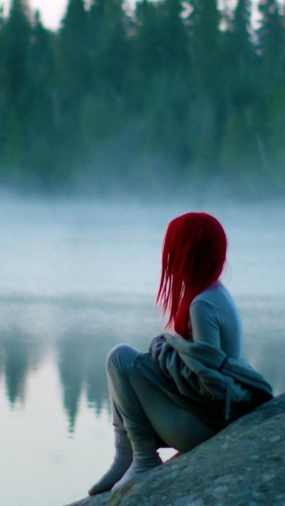Red-Hairs-Girl-Sitting-near-lake-iPhone-Wallpaper - iPhone Wallpapers