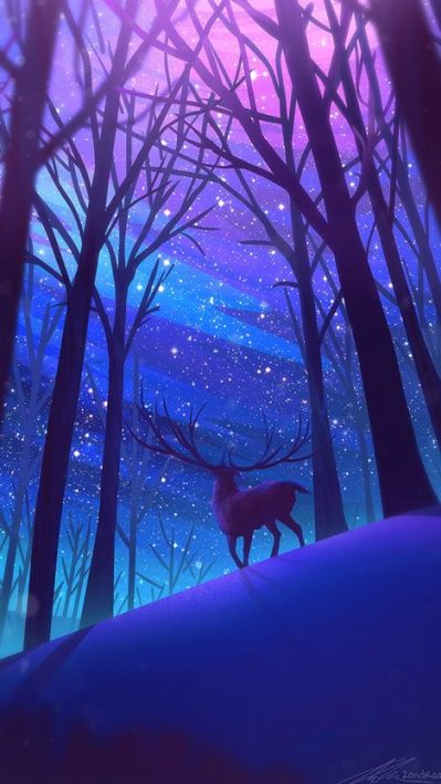 Reindeer-Forest-Night-Stars-Digital-Art-iPhone-Wallpaper - iPhone Wallpapers