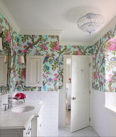 Floral Royal Bathroom Wallpaper Ideas on Small White Modern Bathroom – Home Inspiring