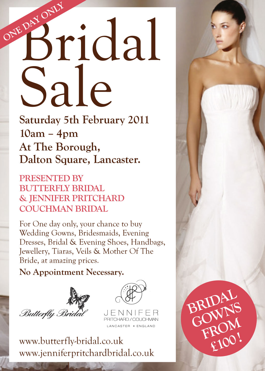wedding wedding dress sales Jennifer Pritchard Bridal One Day Bridal Gown Sale at The Borough Lancaster