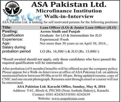 Loan Office & Junior Loan Officer Jobs 2016 Microfinance ASA Pakistan Ltd -JobsWorld