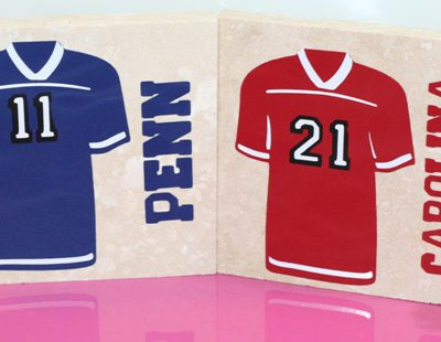 Football Jersey Travertine Tile Vinyl Drink Coasters – Football Friday