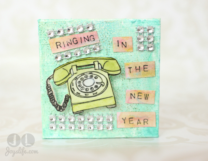 Ringing in the New Year Mixed Media Mini Canvas #FaberCastell #DesignMemoryCraft #Canvas