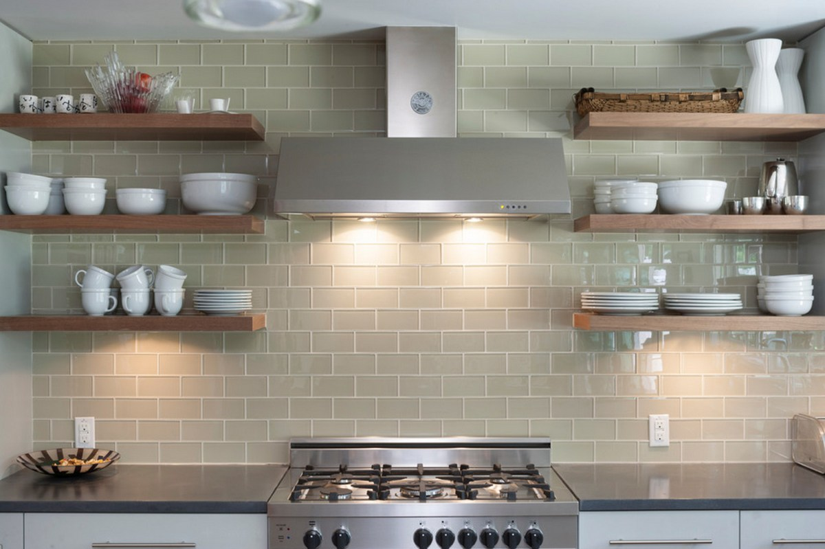 open shelving on glass tile kitchen wall kitchen backsplash glass tile Share this Pinterest Just Decorate