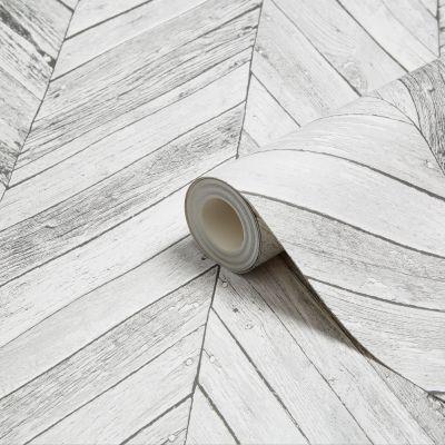Graham & Brown Fresco Grey Herringbone Wood Wallpaper | Departments | DIY at B&Q