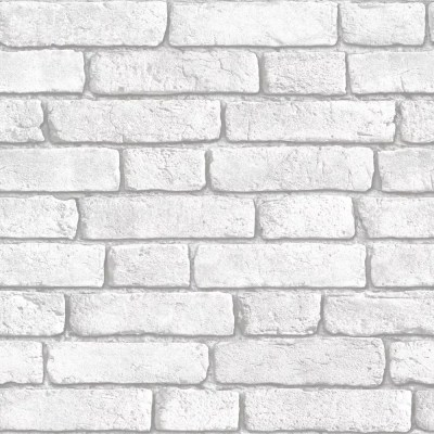 Muriva White Brick Wall Wallpaper | Clearance | DIY at B&Q