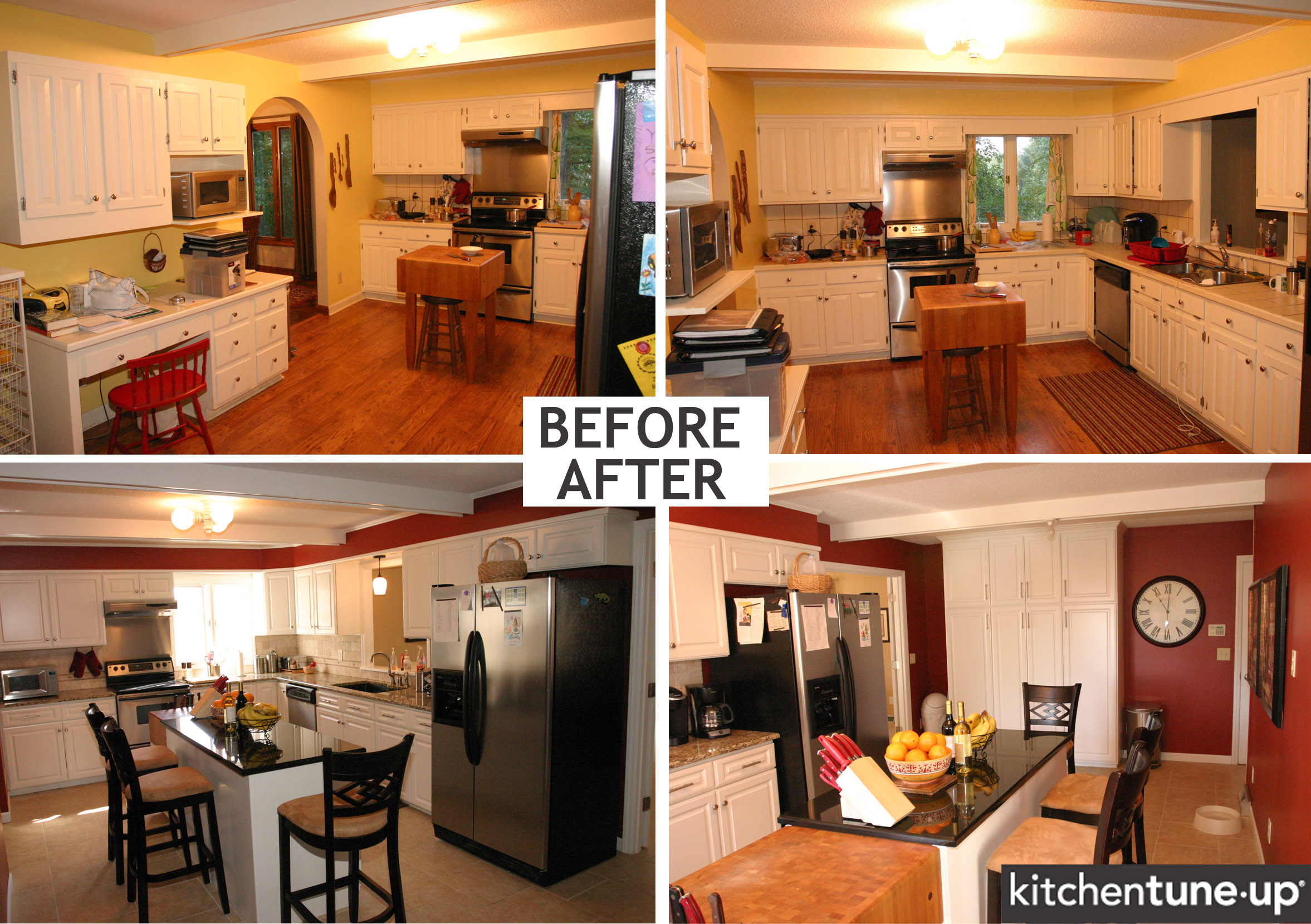 before after granite butcher block kitchen countertops Granite St Louis