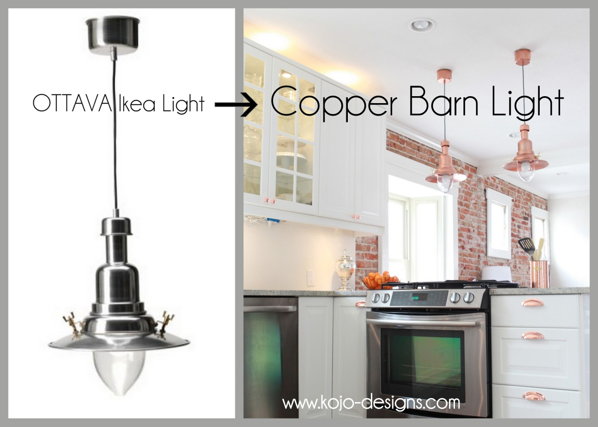 copper barn light ikea hack copper pendant light kitchen IKEA hack how to turn an OTTAVA light into a copper barn pendant light