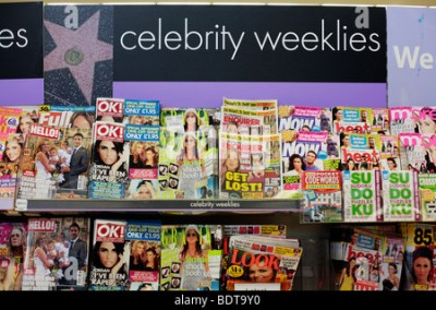 Womens and celebrity magazines on sale at a newsagents ...
