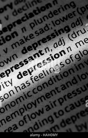 dictionary definition depression closeup book letter Stock Photo: 29445832 - Alamy