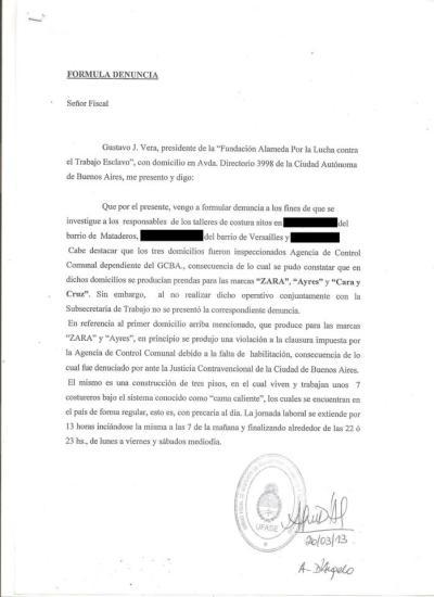 Segunda denuncia penal contra la marca Zara y escrache a su local | La Alameda