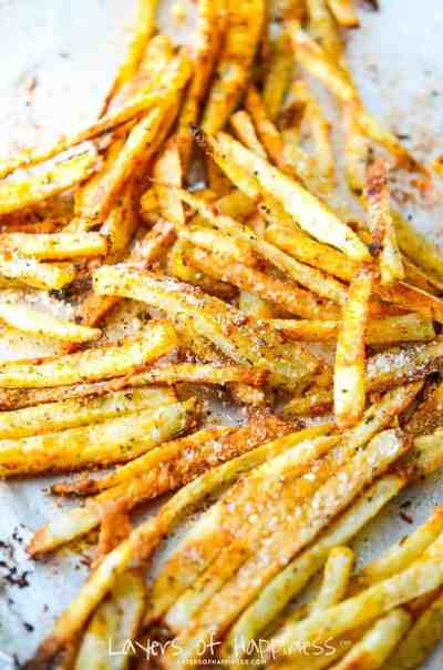 Extra Crispy Oven Baked French Fries - Layers of Happiness