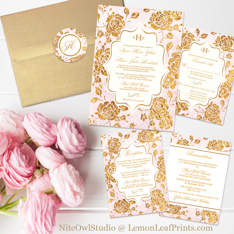 blush mint and gold wedding invitations rose gold wedding invitations vintage blush pink and gold rose floral monogram wedding invitation set