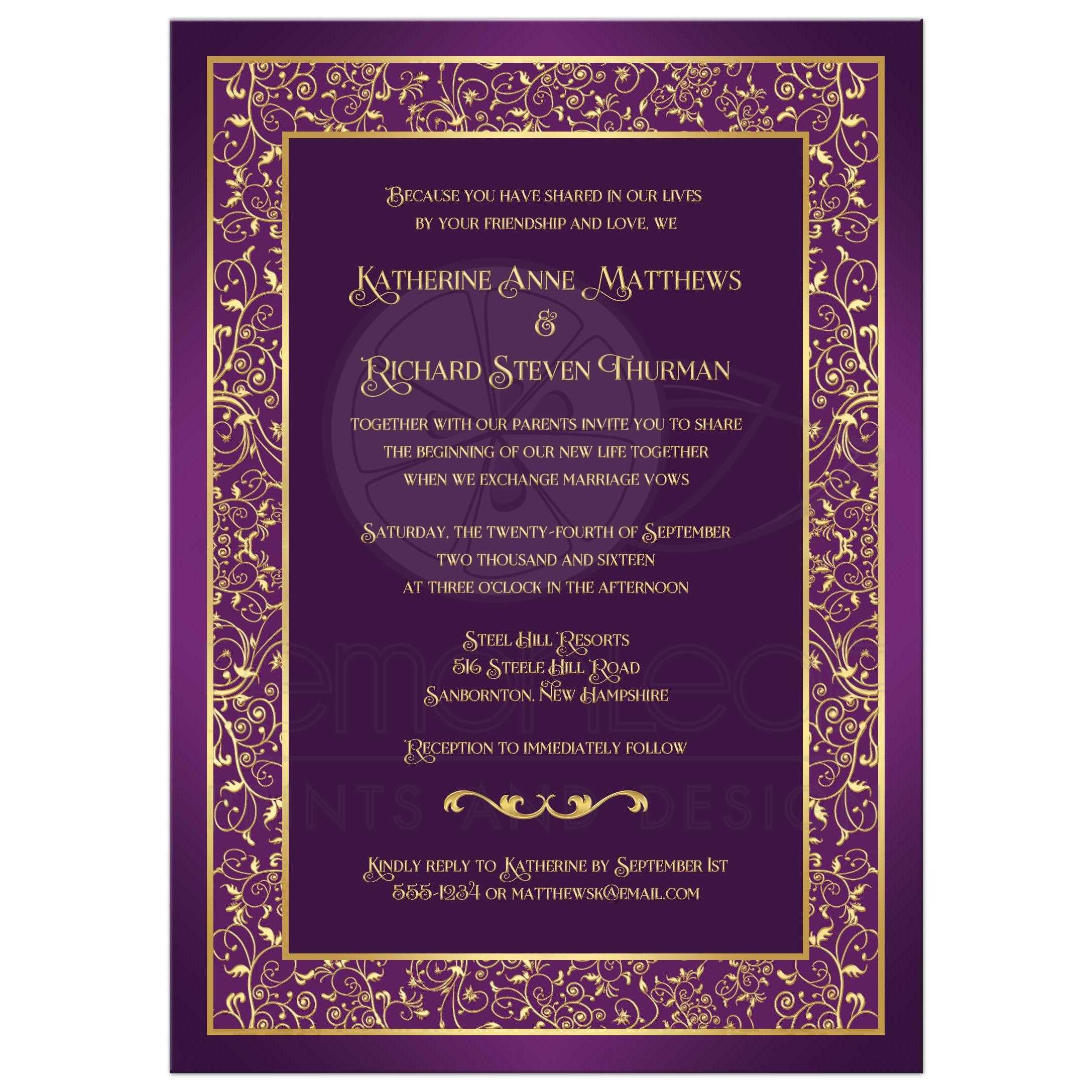 purple and gold wedding invitations purple and gold wedding Wedding Invitation Purple Gold Ornate Scrolls Vines