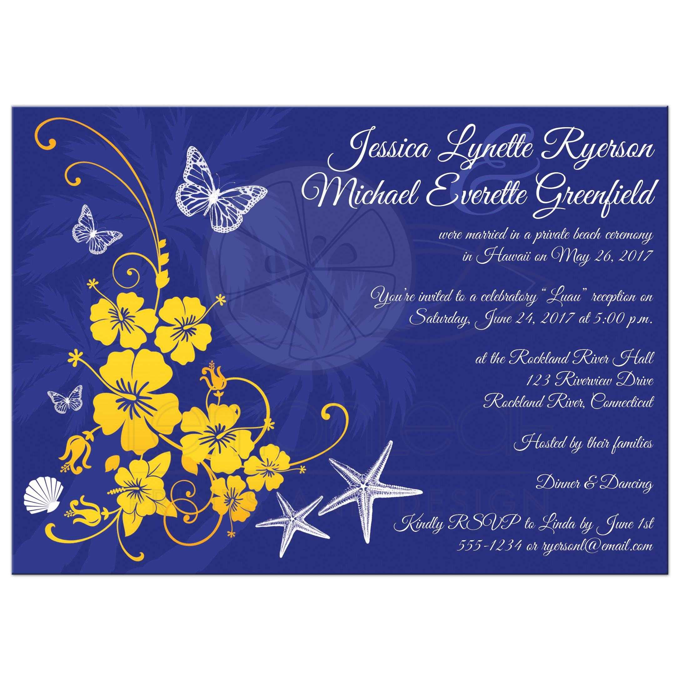 blue and yellow wedding invitations yellow wedding invitations Post Wedding Reception Invitation Blue Yellow White Tropical
