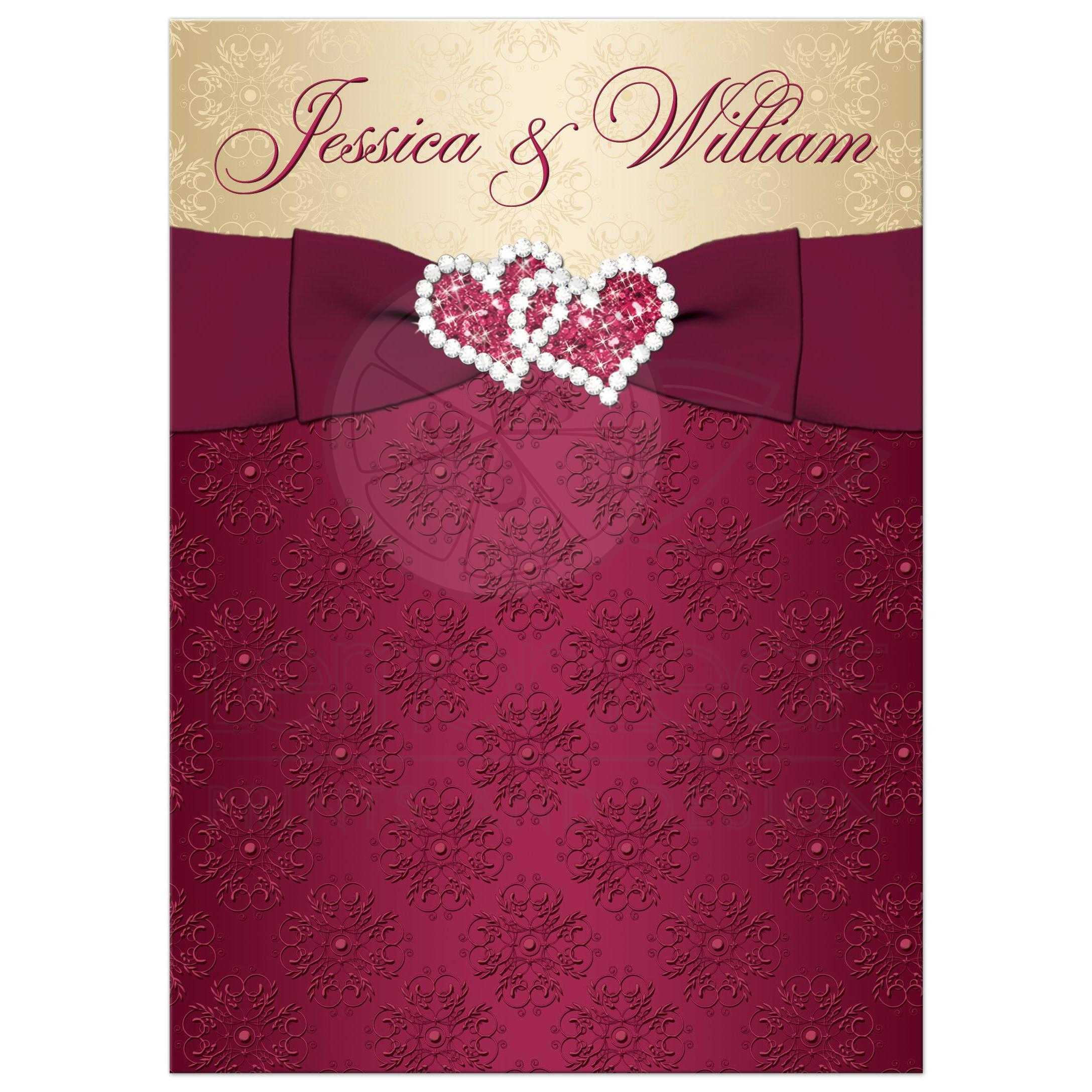 burgundy wedding invitations burgundy wedding invitations wedding invitation burgundy gold damask printed ribbon Wedding invitations