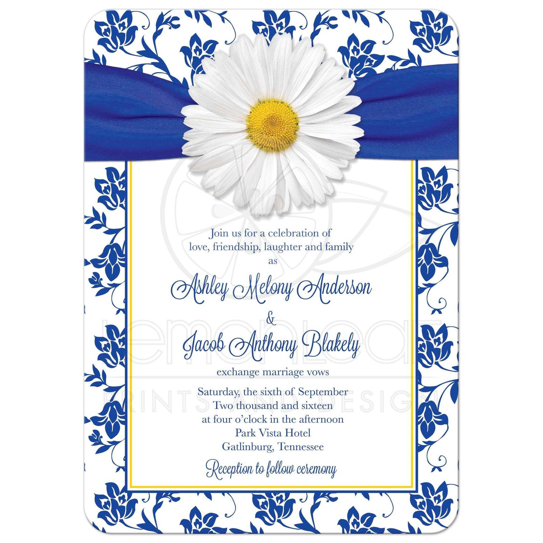 Daisy Wedding Invitation Royal Blue Floral Damask Ribbon