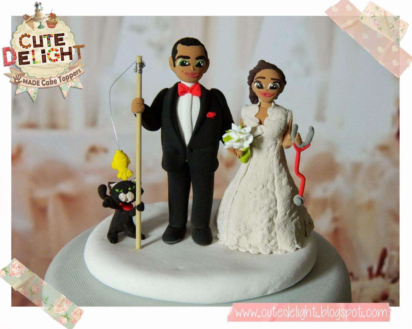 doctor bride groom wedding cake toppers wedding cake toppers funny Wedding Cake Topper Custom Made Doctor Bride And Fisherman Groom With Black Cat