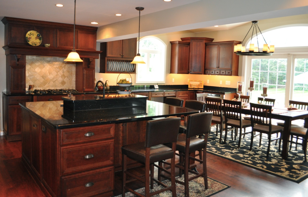 kitchen cabinet trends weve seen in cherry kitchen cabinets Black Galaxy Granite Kitchen Countertop Island Installed Finished Classic Dark Cherry Cabinets