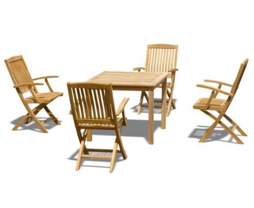 Table and chair set outdoor patio teak dining set lindsey teak - Folding Dining Sets Archives Lindsey Teak