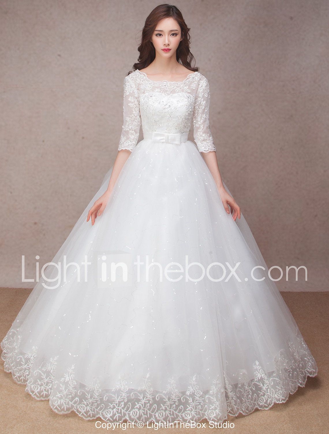 wedding dresses cheapest wedding dresses Princess Wedding Dress Lacy Look Floor length Scoop Lace with Bow Flower Ruffle
