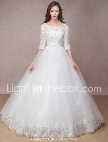 wedding dresses dress for a wedding Princess Wedding Dress Lacy Look Floor length Scoop Lace with Bow Flower Ruffle