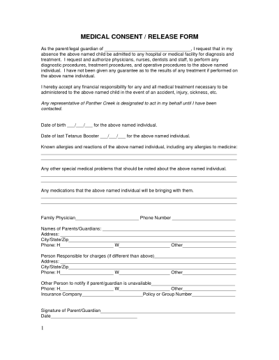 Medical Treatment Release Form - Free Printable Documents