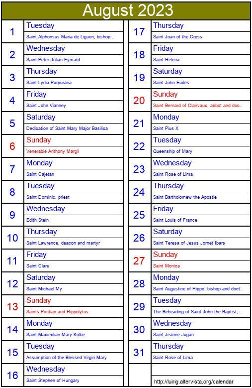 October 1907 - Roman Catholic Saints Calendar