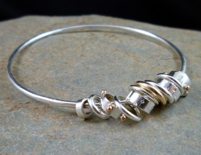 Handmade Sterling Silver, Gold and Copper - Jingle - Jangle - Bangle - | Mixed Metal Jewellery ...