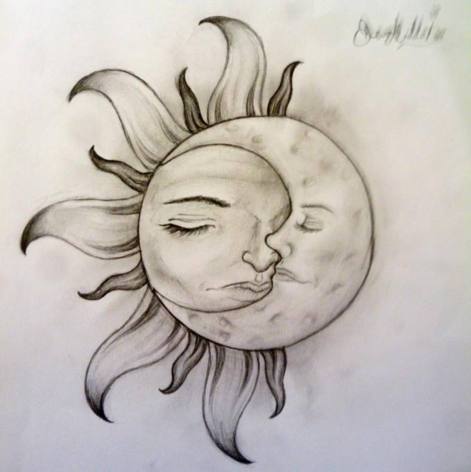 Sun and Moon  Nature  Drawings  Pictures  Drawings ideas for kids     Author drawing