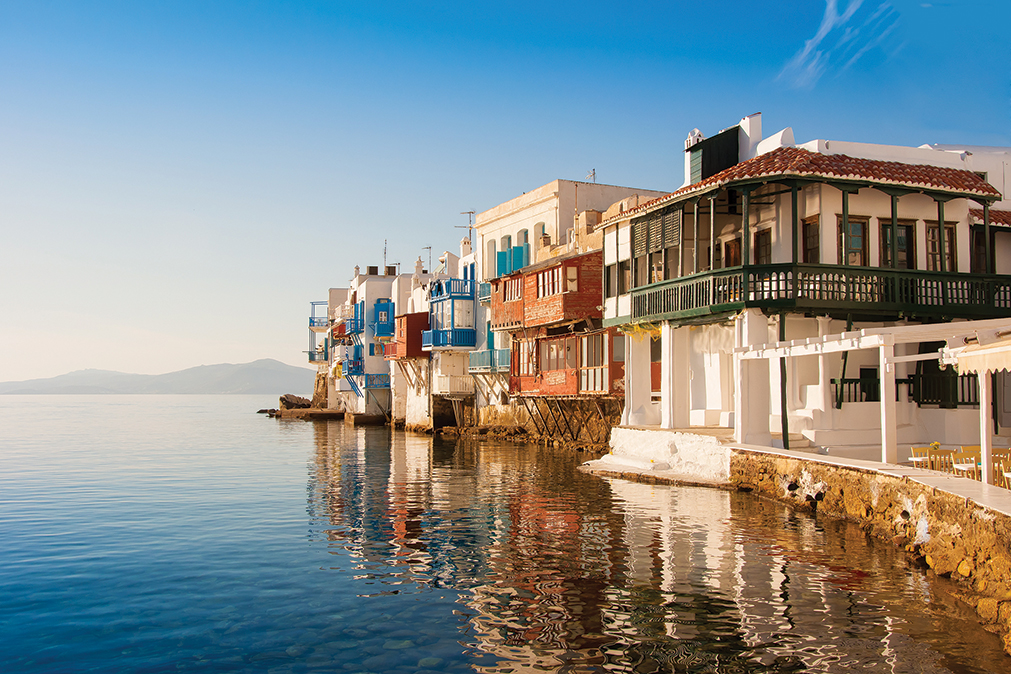 Mykonos Island   The island of the winds   Manessis Travel DMC Website Little Venice at sunset on Mykonos Island