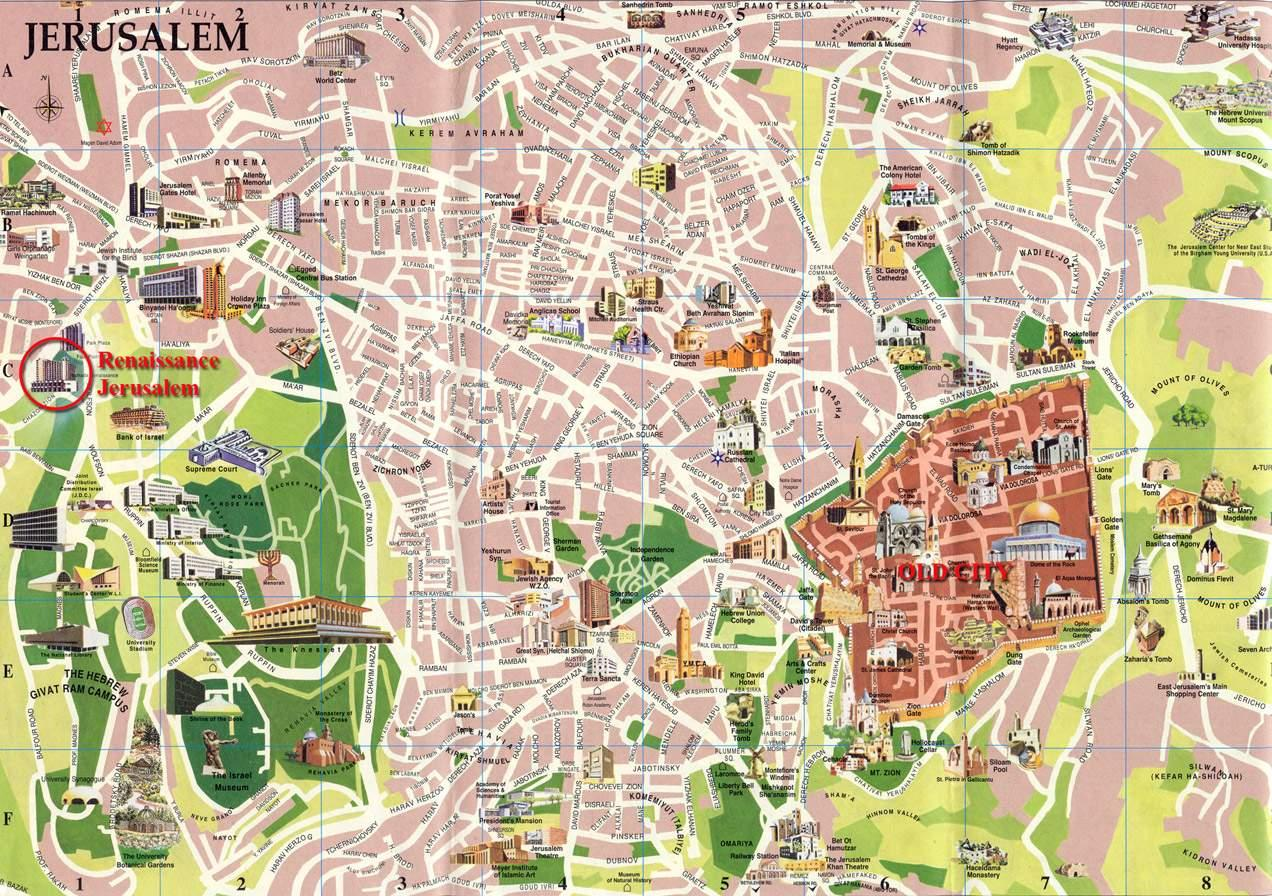 Jerusalem street map   Street map of Jerusalem  Israel  Street map of Jerusalem