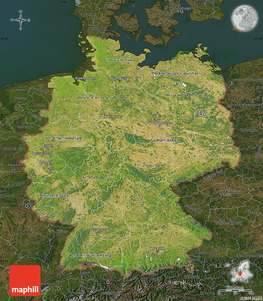 Satellite Map of Germany  darken