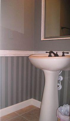 Wallpaper framed below chair rail.   Craft & Home Decor   Pinterest