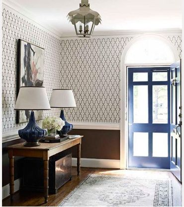 Wallpaper with color under chair rail | For the Home | Pinterest