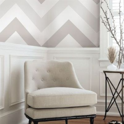 Wallpaper above a chair rail- Love this Ombre Chevron | designed Armchair | Pinterest