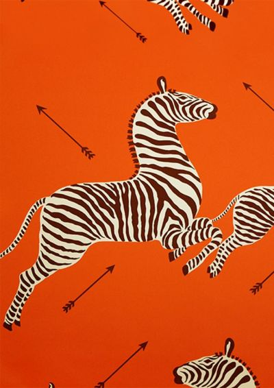 Scalamandre Zebra wallpaper in orange   Crazy About Orange   Pinterest