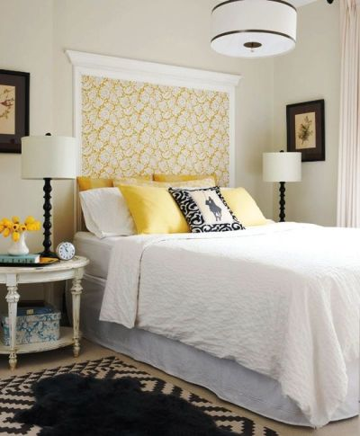 Crown molding and wallpaper as headboard | For the Home | Pinterest