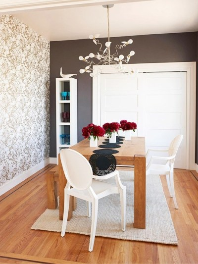 wallpaper accent wall | Color In The Home | Pinterest