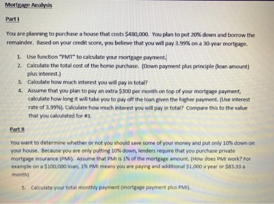 Solved: Mortgage Analysis Part I You Are Planning To Purch... | Chegg.com
