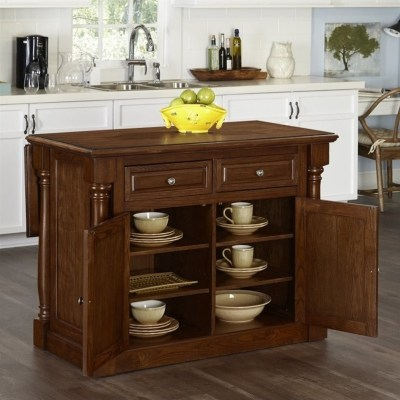 Home Styles Monarch Kitchen Island with Wood Top Oak Carts ...