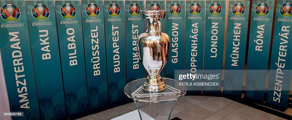 A model of the UEFA European football championship trophy is     A model of the UEFA European football championship trophy is pictured  surrounded with the names of host cities after an event to launch the  Budapest s logo