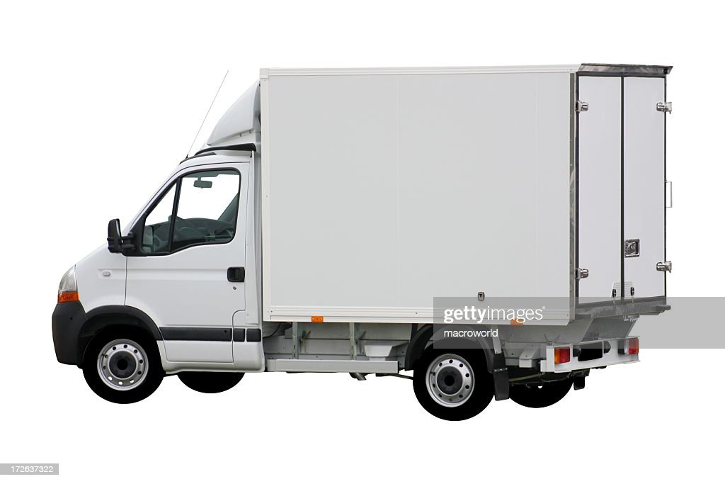 White Delivery Truck With Box Shape Stock Photo | Getty Images