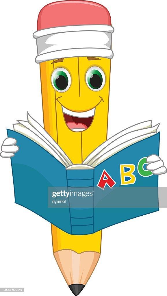 Lustiger Comic Bleistift Sie Ein Buch Lesen Vektorgrafik | Thinkstock