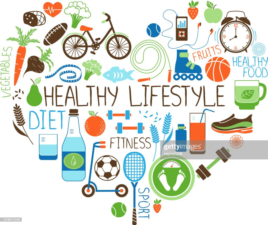 Healthy Lifestyle Diet And Fitness Heart Sign Vector Art ...