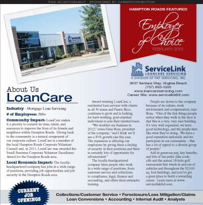 February 2013 - LoanCare is featured as an Employer of Choice in Hampton Roads by CareerConnection