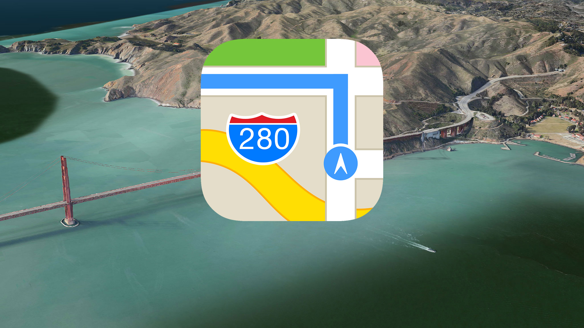 Apple rebuilding Maps from the ground up with Street View like     Apple Maps icon and aerial landscape shot