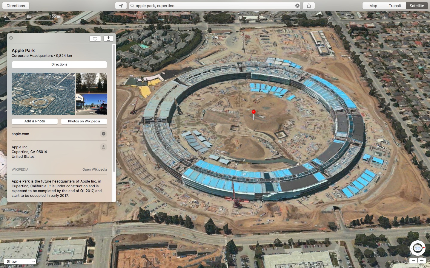 3D satellite imagery and related details for Apple Park go live on     3D satellite imagery and related details for Apple Park go live on Apple  Maps